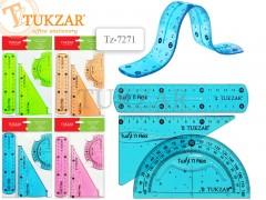 Набор пластиковых гибких линеек, 3 шт: линейка 15 см, треуголик 30х60х90, транспортир. 4 цвета в ассортименте, NEW, арт. TZ 7271