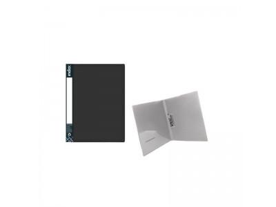 Папка с прижимным механизмом и карманом METALLIC, форзац, ф.A4, 0,7мм, черная, арт. ICF02/10/BK