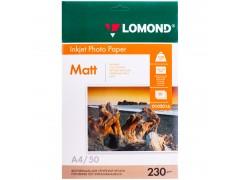 Бумага А4 для стр. принтеров Lomond, 230г/м2 (50л) мат.одн. 0102016