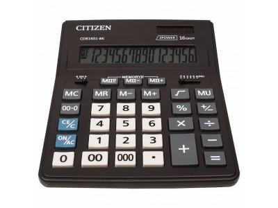 Калькулятор настольн BUSINESSLINE,16 разр., дв. питание, 2 памяти, черный корпус, разм.200*157*35 мм арт.CDB1601-BK