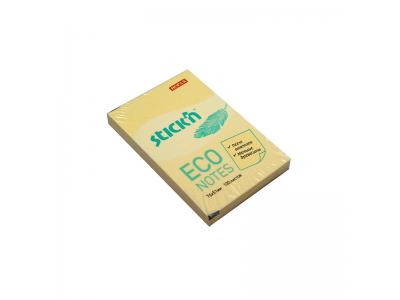 Блок самоклеящийся бумажный Stick`n ECO 21741 51x76мм 100лист. 60г/м2 пастель желтый