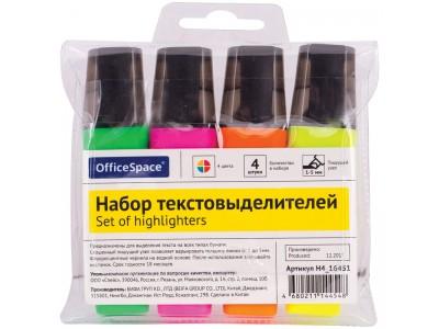 Набор текстовыделителей OfficeSpace 4цв., 1-5мм, ПВХ уп., арт.H4_16451