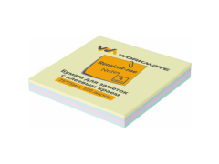 Бумага для заметок с клеевым краем, 75х75 мм, 100л., 4-х цветная, Workmate