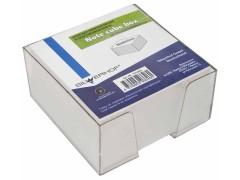 Бумажный блок для записей, 90х90х45мм, BASIC, белый, офсет 60г/м2, белизна 88-90%, в пласт.подставке