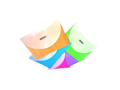 Папка-конверт COLOURPLAY с кнопкой, горизонтальная, ф. А4, 2 отделения, ассорти, 5 цветов, 180мкм, арт. IPF320