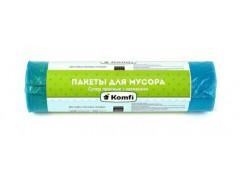 Мешки для мусора 60л. TM Komfi с затяжкой, 30шт. в рулоне, цв.голубой