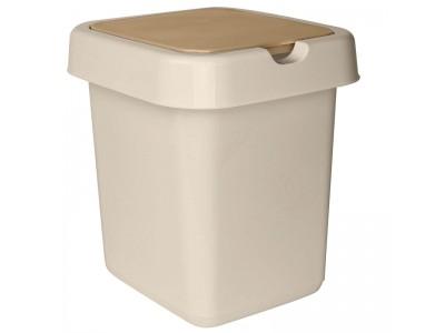 """Контейнер для мусора с крышкой SVIP """"Квадра"""" прямоугольный, пластик, 9л., цв.бежевый, арт. SV4042"""