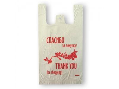 "Пакет-майка ПНД 25+12*45см., 11мкм, ""Спасибо за покупку"", цв.белый, 100шт/уп., арт.PTF008KB"