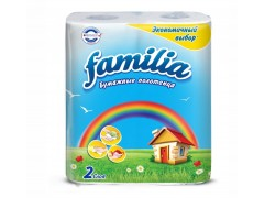 Полотенца бумажные 2-х слойные FAMILIA Радуга, 2 рул./уп.