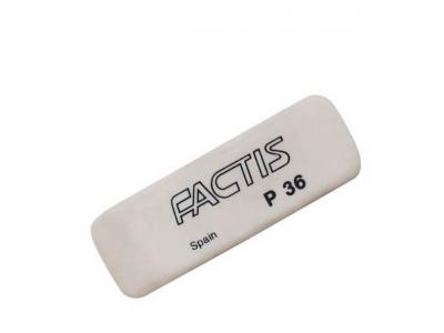 Ластик FACTIS мягкий скошенный, из непрозрачного пластика, размер 56х19,5х9 мм, арт. P36