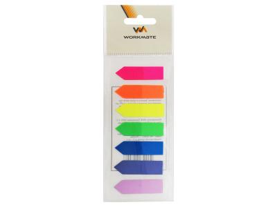 Закладки с клеевым краем СТРЕЛКИ Workmate, 12х44 мм, пласт., 7 блоков по 25л., 7-ти цветные