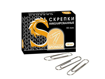 Скрепки, 50 мм, никелированные, 50 шт., арт. SPC50