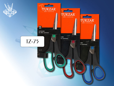 Ножницы: пластиковые ручки, резиновые вставки, лезвие 19 см., арт. TZ 75