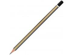 Карандаш чернографитный, 6-ти гранный, золотые полоски, заточ., улучш. прокрас, уп.12шт, подвес, арт. I252