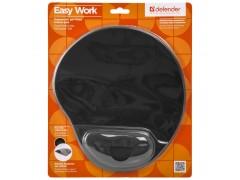 Коврик для мыши Defender EasyWork, черный, гелевая подушка, полиуретан, покрытие тканевое 50905