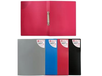 Папка на 2 кольцах, ф.А4, ассорти (черная, синяя, красная, серая), 0,4 мм, арт. SRB02R/ASS/SPEC