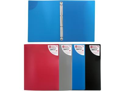 Папка на 4 кольцах, ф.А4, ассорти (черная, синяя, красная, серая), 0,4 мм, арт.SRB04/ASS/SPEC