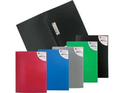 Папка с прижимным механизмом, ф.A4, ассорти (черн., син., красн., зелен., сер.), 0.4 мм, арт. SCF201/ASS/SPEC