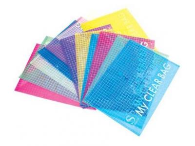 Папка-конверт с кнопкой MY CLEAR BAG, ассорти, прозрачная, ф.A4, 180мкм, арт. SCB209-1