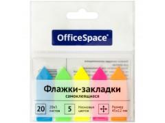 Флажки-закладки OfficeSpace, 45*12мм, 20л*5 неоновых цветов, европодвес, арт. SN20_17794