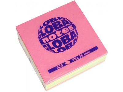 Бумага для заметок GLOBAL NOTES 75 х 75 мм, 320л, 4-цв неон, арт.05-365439