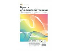 Бумага WORKMATE для офисной техники, ф.А4, 80 г/м2, 100л., цветная, пастель, микс, арт. 012001200