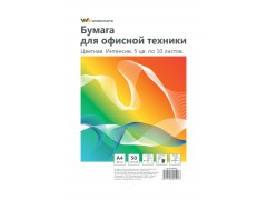 Бумага WORKMATE для офисной техники, ф.А4, 80 г/м2, 100л., цветная, интенсив, микс, арт. 012001600