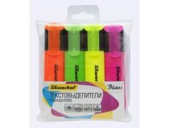 Набор текстовыделителей Silwerhof Blaze 108036-00 скошенный пиш. наконечник 1-5мм 4цв. пакет с европодвесом