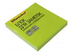 Блок самоклеящийся бумажный Silwerhof 682161-06 76x76мм 100лист. 75г/м2 неон зеленый, арт.1204469
