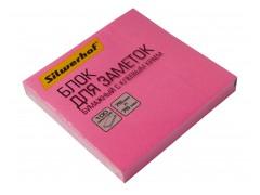 Блок самоклеящийся бумажный Silwerhof 682161-03 76x76мм 100лист. 75г/м2 неон розовый, арт.1204470
