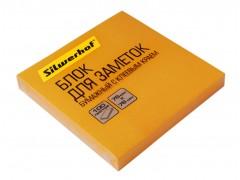 Блок самоклеящийся бумажный Silwerhof 682161-07 76x76мм 100лист. 75г/м2 неон оранжевый, арт. 1204471