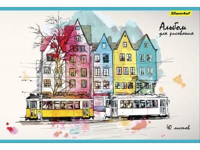 Альбом для рисования Silwerhof 485734 40л. Город 1диз. мел.картон склейка