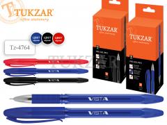 Ручка: шариковая VISTA, игольч.наконечник, пласт. полупрозр. корпус, пластик. клип, чернила на масл. основе, арт. TZ 4764, цвет чернил красный