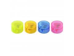 Точилка пластмассовая FANCY, мини, круглая форма, с контейнером и крышкой, арт. FSH230