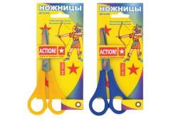 Ножницы детские ACTION,135 мм,пластик.ручки,покрытие лезвий РАДУГА,линейка,2 цв.,картон с е/подвесом, арт. ASC202