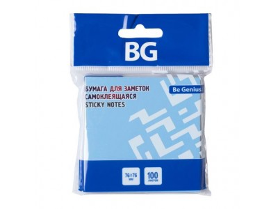 Бумага для заметок BG, 7,6*7,6 см, 100 л., самоклеящаяся, голубая НЕОН, европодвес, арт. LBZ76n 7110