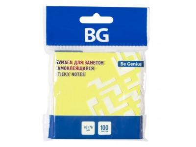 Бумага для заметок BG, 7,6*7,6 см, 100 л., самоклеящаяся, желтая НЕОН, европодвес, арт. LBZ76n 7111
