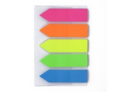 Флажки-закладки BG пластиковые самоклеящиеся, 4,4*1,2 см, 20л*5, НЕОН цв., европодвес, арт. LFZp 7134