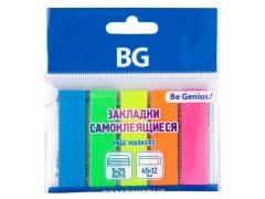 Закладки пластиковые BG самоклеящиеся, 4,5*1,2 см, 25л*5 НЕОН цв., европодвес, арт. LFZp 7135