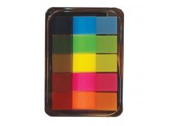 Закладки пластиковые BG самоклеящиеся в диспенсере, 4,5*1,2 см, 20л*5 НЕОН цв., европодвес, арт. LFZd 7139