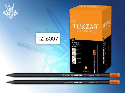 Карандаш чернографитный TUKZAR STYLE, HB, с ластиком, заточенный, шестигранный пластиковый корпус, цвет корпуса - черный, арт. TZ 6007