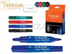 Маркер 2-х сторонний перманентный TWINGO, цвета в ассортименте, пулевидный/скошенный наконечник, 2-6 мм, арт. TZ 422, цвет синий