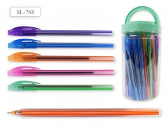 Ручка шариковая В БАНКЕ, цвет чернил - СИНИЙ,цветной корпус с полосками, арт. ET-768