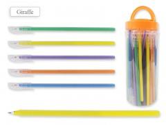 Ручка шариковая В БАНКЕ, цвет чернил - СИНИЙ, удлиненный корпус 19 см, матовый цветной корпус с цветными полосками, арт. ET Giraffe