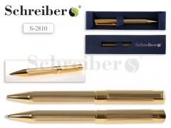 Ручка шариковая металлическая, поворотная в футляре, цвет ЗОЛОТО, пишущий узел 1,0 мм СИНИЕ чернила, арт. S 2810