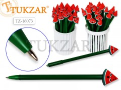 Ручка шариковая с игрушкой-насадкой АРБУЗИК , цв.чернил - синий 0,7мм, цвета корпуса в ассортименте, арт. TZ 16073