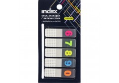 Блок-закладка с липким слоем, разм. 12х45 мм, пластик., 5 закл. по 20 листов, цифры 6-0, арт. I471810