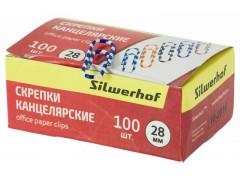 Скрепки Silwerhof 492020 пластиковая оболочка 28мм ассорти (упак.:100шт) картонная коробка