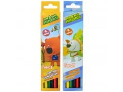 Набор карандашей цветных трехгранных заточенных FANCY, 6 цв., арт. FCP401-6