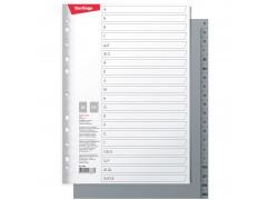 Разделитель листов Berlingo А4, 20 листов, алфавитный А-Я, серый, пластиковый ARp_04050